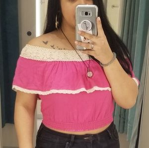 Hot pink off shoulder mexican style blouse